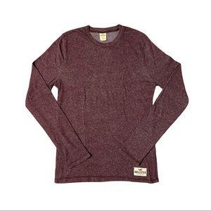 HOLLISTER Men's Long Sleeve Burgundy Shirt Size M